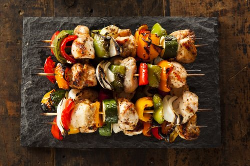 Grilled chicken kabab with peppers, onions and courgettes
